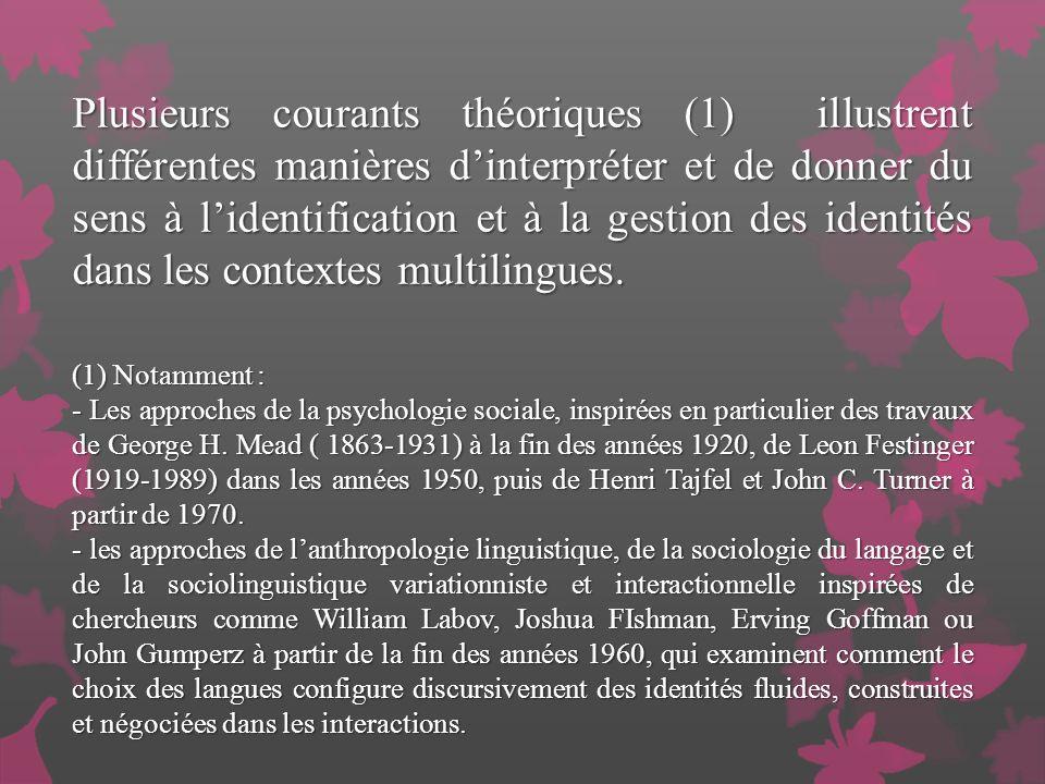 Plusieurs courants théoriques (1) illustrent différentes manières dinterpréter et de donner du sens à lidentification et à la gestion des identités dans les contextes multilingues.