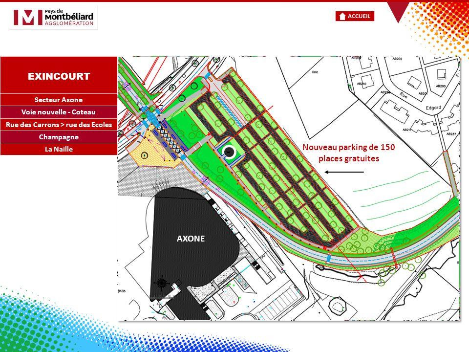 EXINCOURT Secteur Axone Voie nouvelle - Coteau Rue des Carrons > rue des Ecoles Champagne AXONE Nouveau parking de 150 places gratuites La Naille