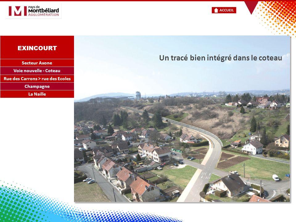 EXINCOURT Secteur Axone Voie nouvelle - Coteau Rue des Carrons > rue des Ecoles Champagne Un tracé bien intégré dans le coteau La Naille
