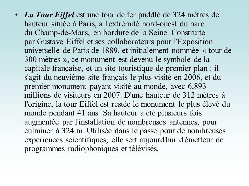 La Tour Eiffel est une tour de fer puddlé de 324 mètres de hauteur située à Paris, à l'extrémité nord-ouest du parc du Champ-de-Mars, en bordure de la