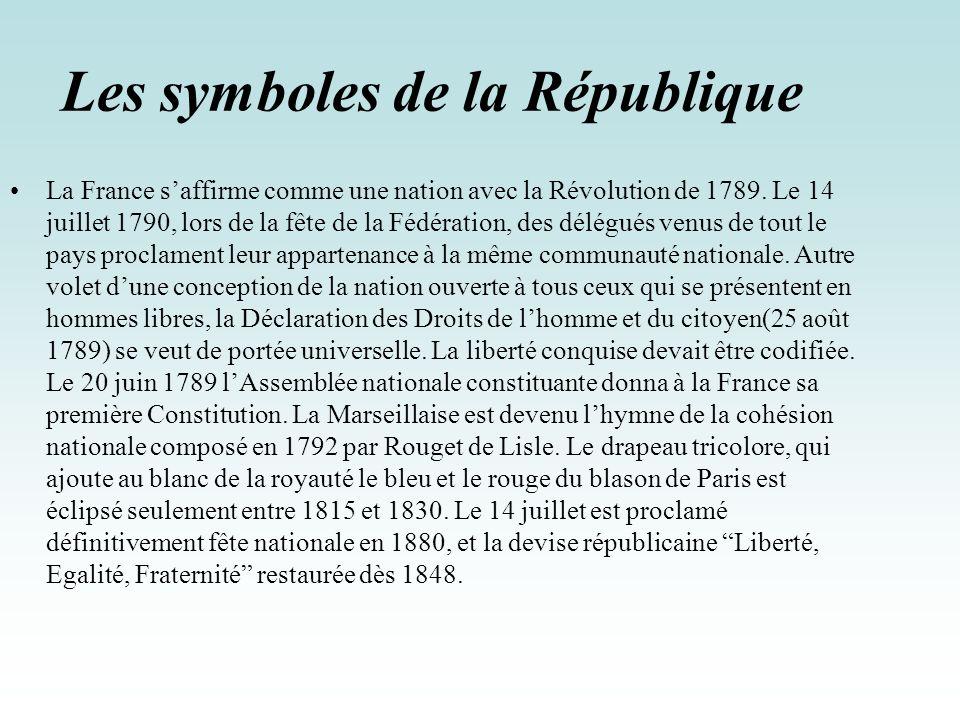 Les symboles de la République La France saffirme comme une nation avec la Révolution de 1789. Le 14 juillet 1790, lors de la fête de la Fédération, de