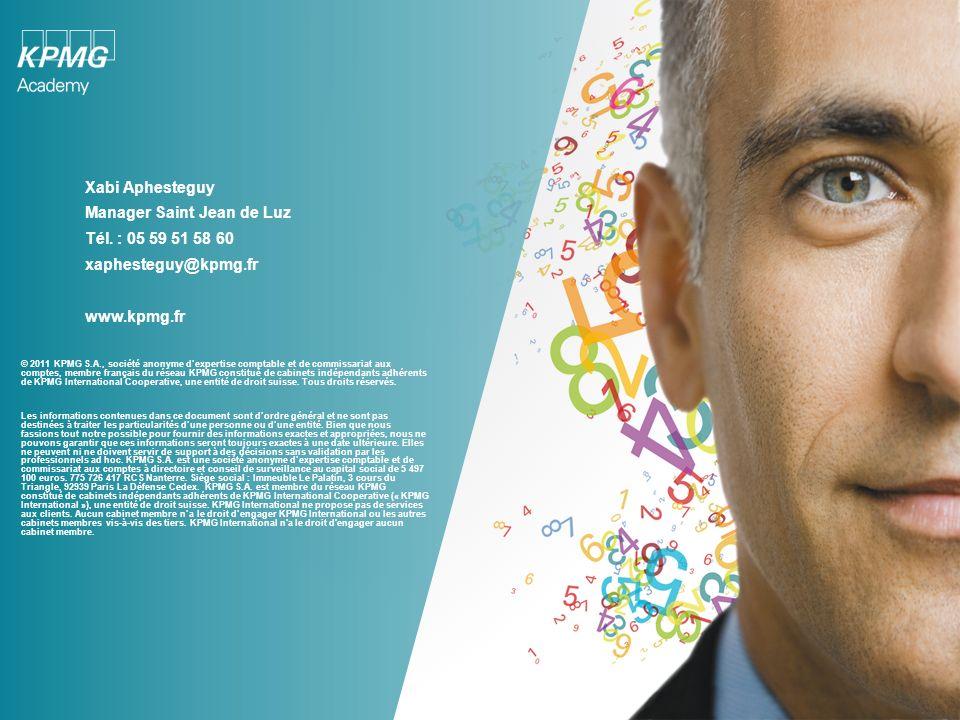 © 2011 KPMG S.A., société anonyme dexpertise comptable et de commissariat aux comptes, membre français du réseau KPMG constitué de cabinets indépendan