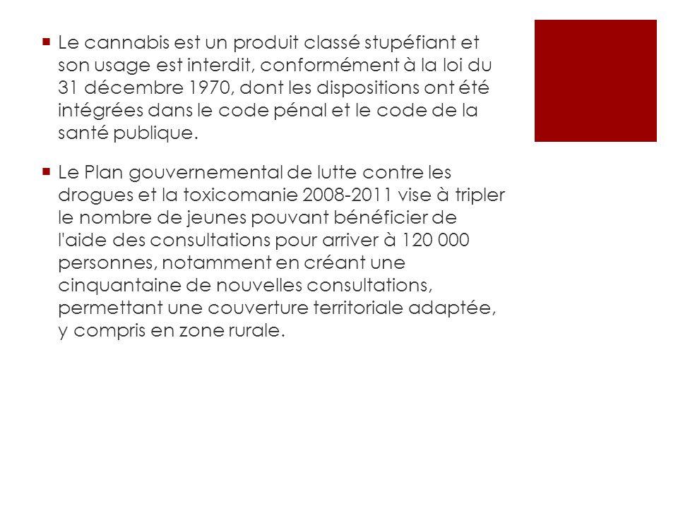 Le cannabis est un produit classé stupéfiant et son usage est interdit, conformément à la loi du 31 décembre 1970, dont les dispositions ont été intégrées dans le code pénal et le code de la santé publique.