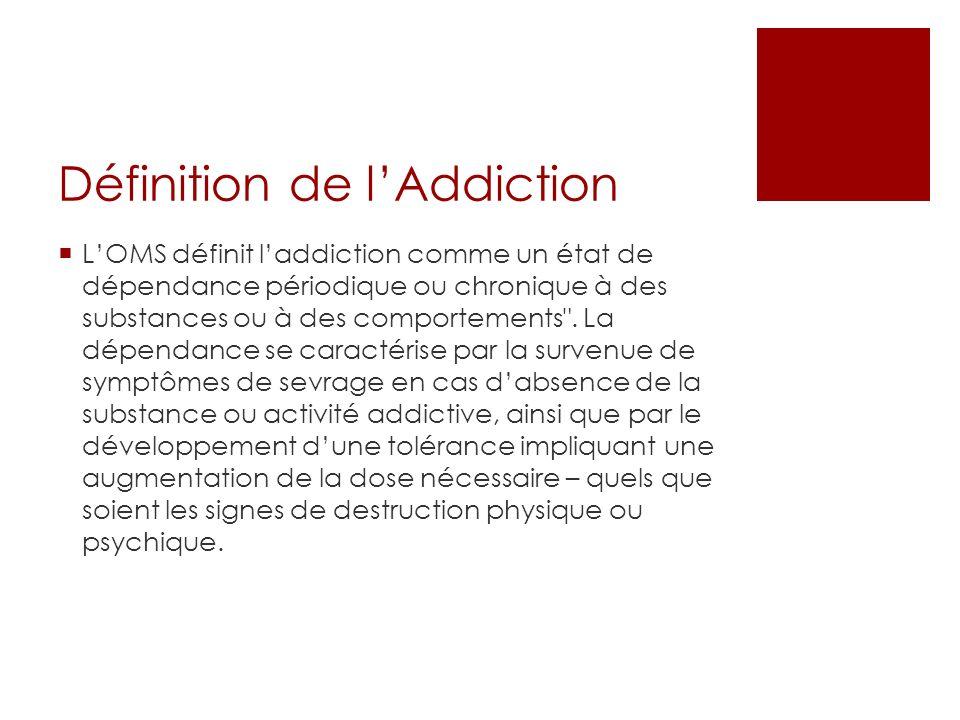Définition de lAddiction LOMS définit laddiction comme un état de dépendance périodique ou chronique à des substances ou à des comportements .
