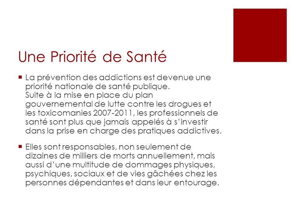 Une Priorité de Santé La prévention des addictions est devenue une priorité nationale de santé publique.
