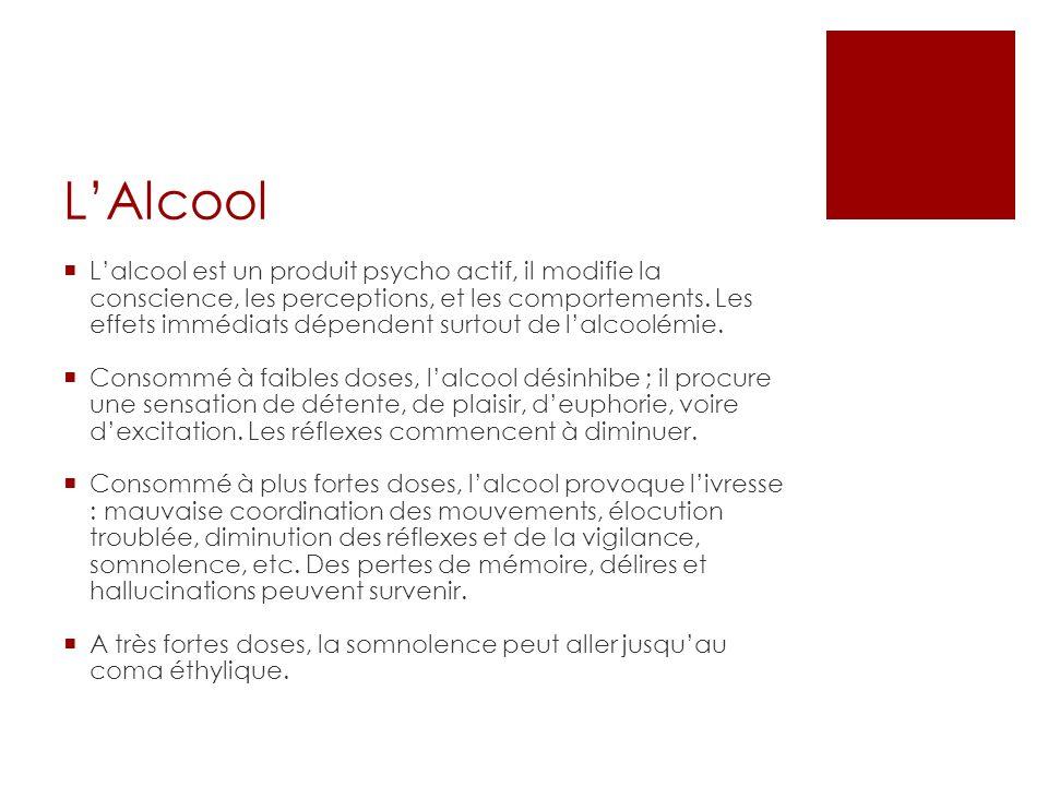 LAlcool Lalcool est un produit psycho actif, il modifie la conscience, les perceptions, et les comportements.
