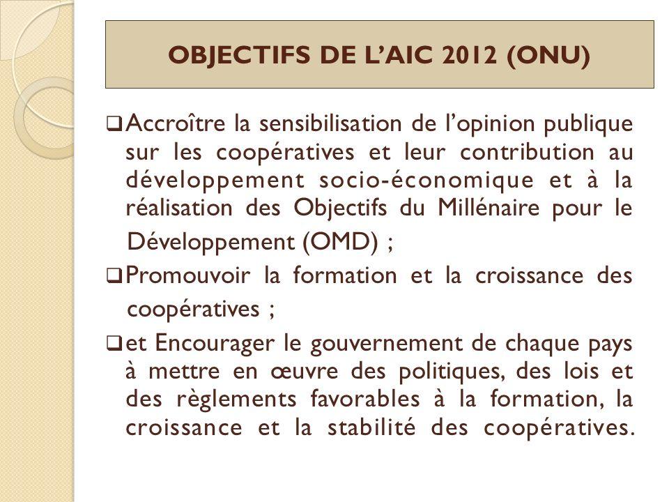 OBJECTIFS DE LAIC 2012 (ONU) Accroître la sensibilisation de lopinion publique sur les coopératives et leur contribution au développement socio-économ
