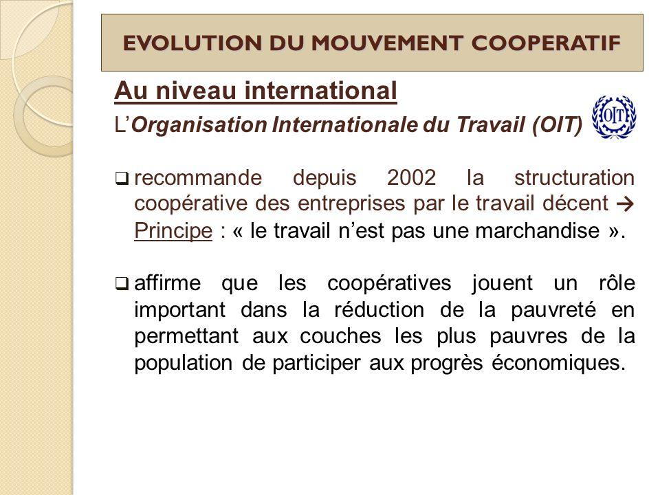 EVOLUTION DU MOUVEMENT COOPERATIF Au niveau international LOrganisation Internationale du Travail (OIT) recommande depuis 2002 la structuration coopér