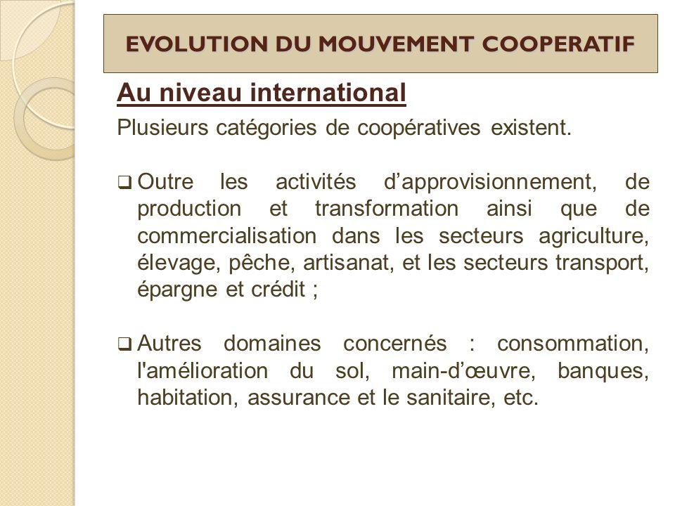 EVOLUTION DU MOUVEMENT COOPERATIF Au niveau international Plusieurs catégories de coopératives existent. Outre les activités dapprovisionnement, de pr