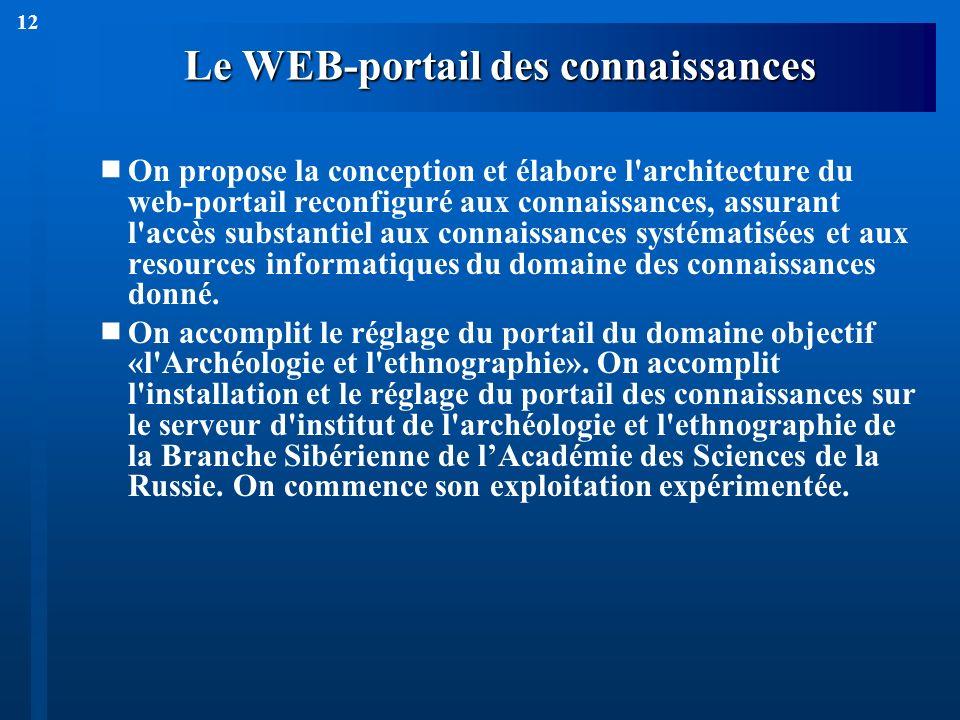 12 Le WEB-portail des connaissances On propose la conception et élabore l'architecture du web-portail reconfiguré aux connaissances, assurant l'accès