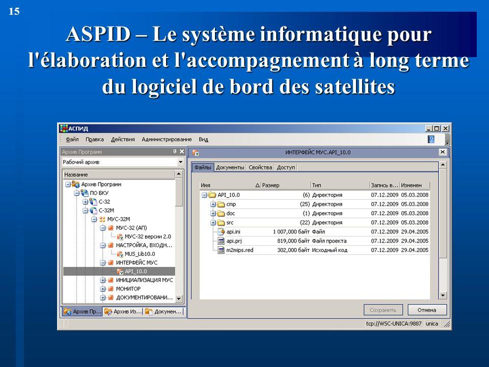 15 ASPID – Le système informatique pour l'élaboration et l'accompagnement à long terme du logiciel de bord des satellites