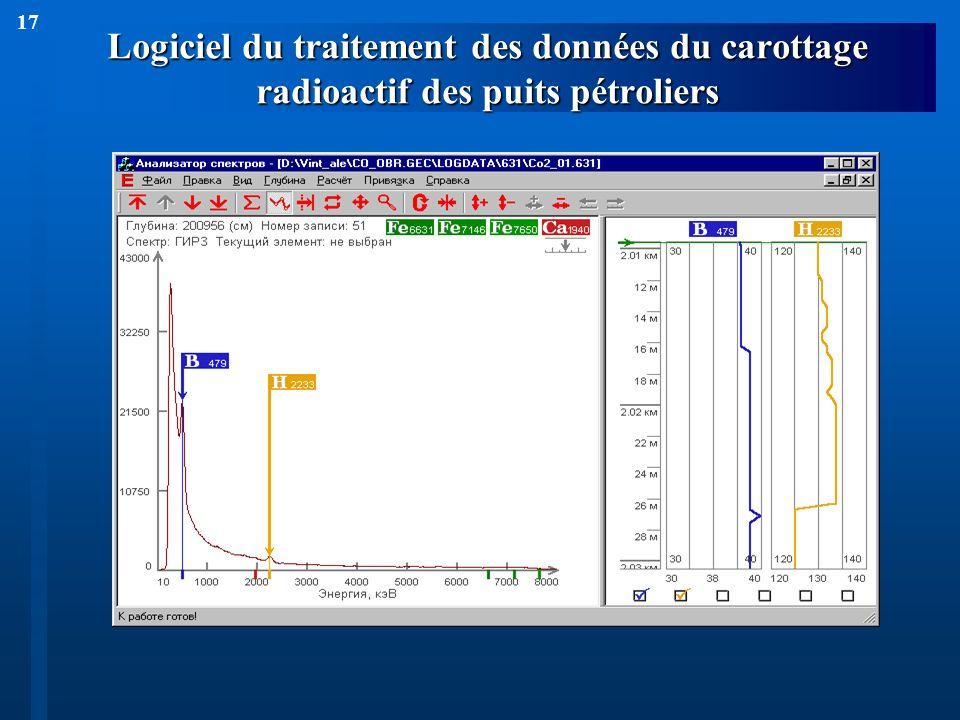 17 Logiciel du traitement des données du carottage radioactif des puits pétroliers