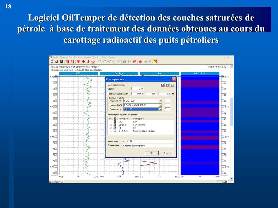 18 Logiciel OilTemper de détection des couches satrurées de pétrole à base de traitement des données obtenues au cours du carottage radioactif des pui