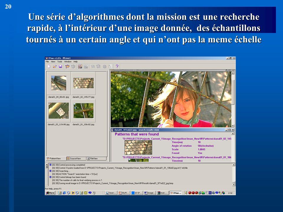 20 Une série dalgorithmes dont la mission est une recherche rapide, à lintérieur dune image donnée, des échantillons tournés à un certain angle et qui