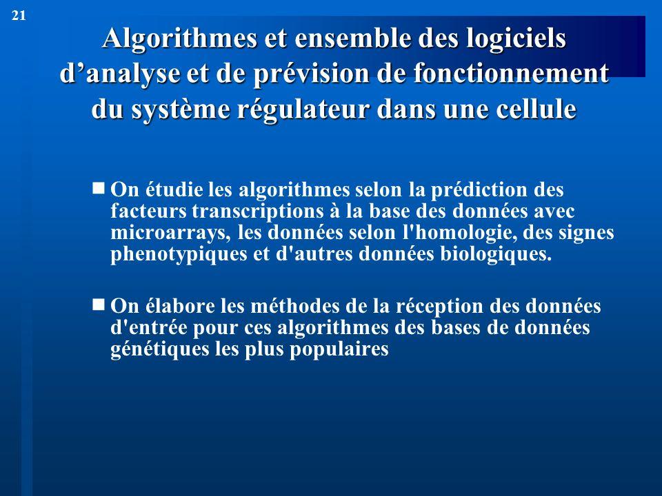 21 Algorithmes et ensemble des logiciels danalyse et de prévision de fonctionnement du système régulateur dans une cellule On étudie les algorithmes s