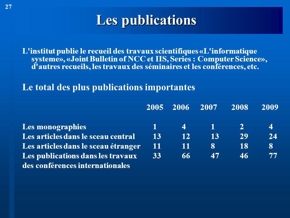 27 Les publications L'institut publie le recueil des travaux scientifiques «L'informatique systeme», «Joint Bulletin of NCC et IIS, Series : Computer
