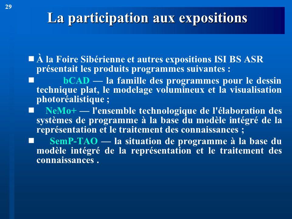 29 La participation aux expositions À la Foire Sibérienne et autres expositions ISI BS ASR présentait les produits programmes suivantes : bCAD la fami
