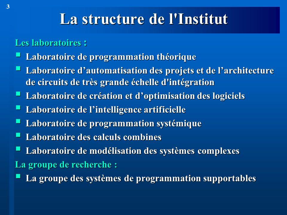 3 La structure de l'Institut Les laboratoires : Laboratoire de programmation théorique Laboratoire de programmation théorique Laboratoire dautomatisat