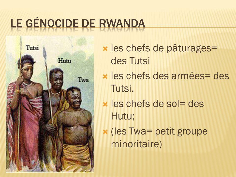 les chefs de pâturages= des Tutsi les chefs des armées= des Tutsi. les chefs de sol= des Hutu; (les Twa= petit groupe minoritaire)