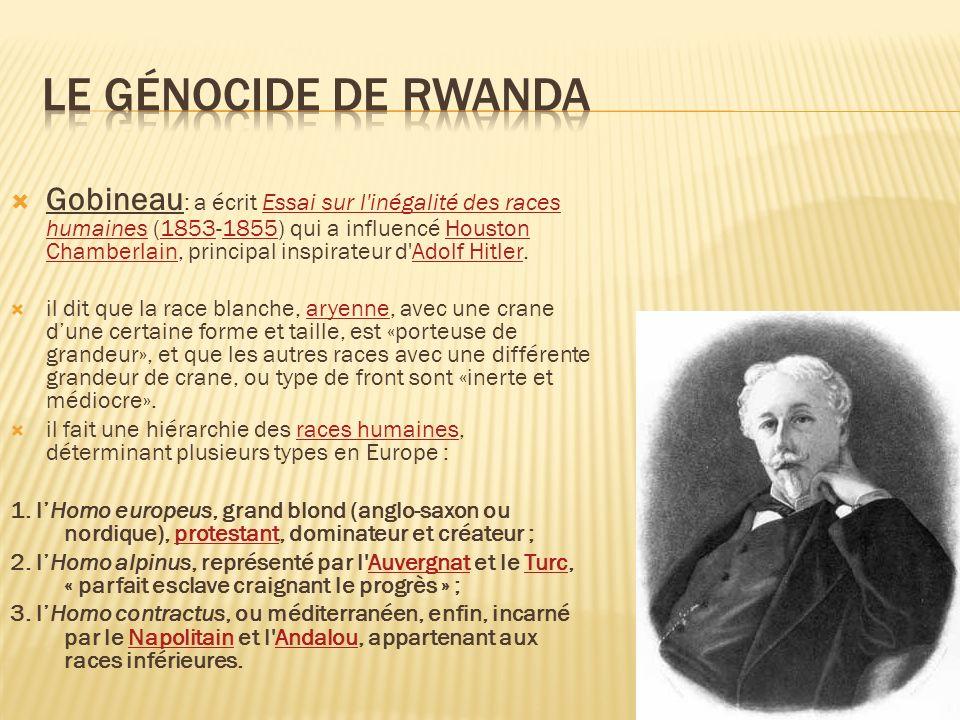 Gobineau : a écrit Essai sur l'inégalité des races humaines (1853-1855) qui a influencé Houston Chamberlain, principal inspirateur d'Adolf Hitler.Essa