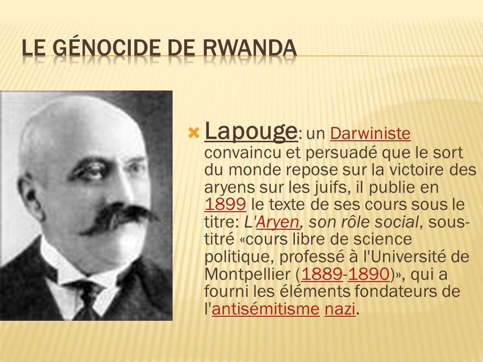 Lapouge : un Darwiniste convaincu et persuadé que le sort du monde repose sur la victoire des aryens sur les juifs, il publie en 1899 le texte de ses