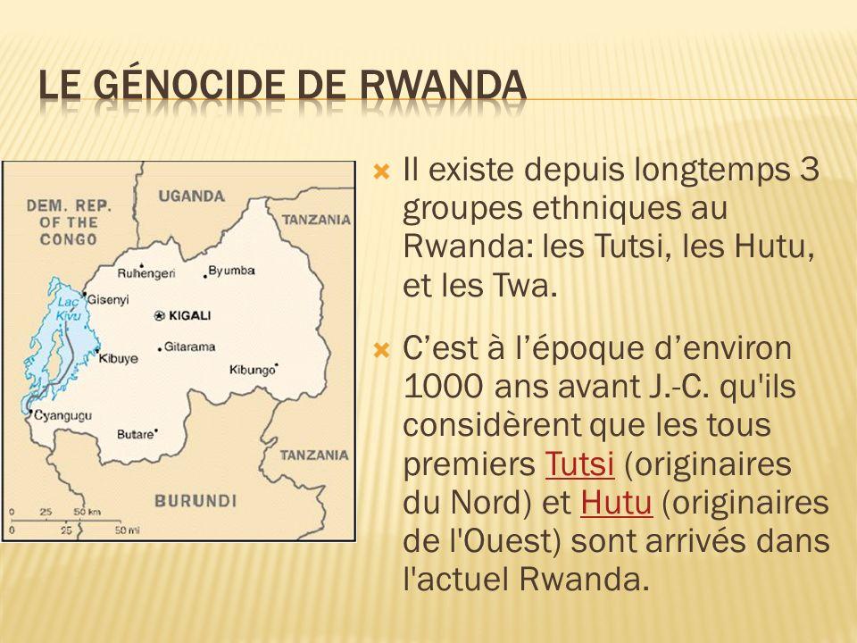 Il existe depuis longtemps 3 groupes ethniques au Rwanda: les Tutsi, les Hutu, et les Twa. Cest à lépoque denviron 1000 ans avant J.-C. qu'ils considè