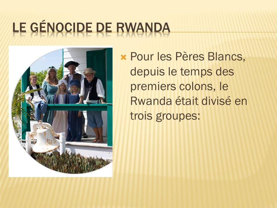 Pour les Pères Blancs, depuis le temps des premiers colons, le Rwanda était divisé en trois groupes: