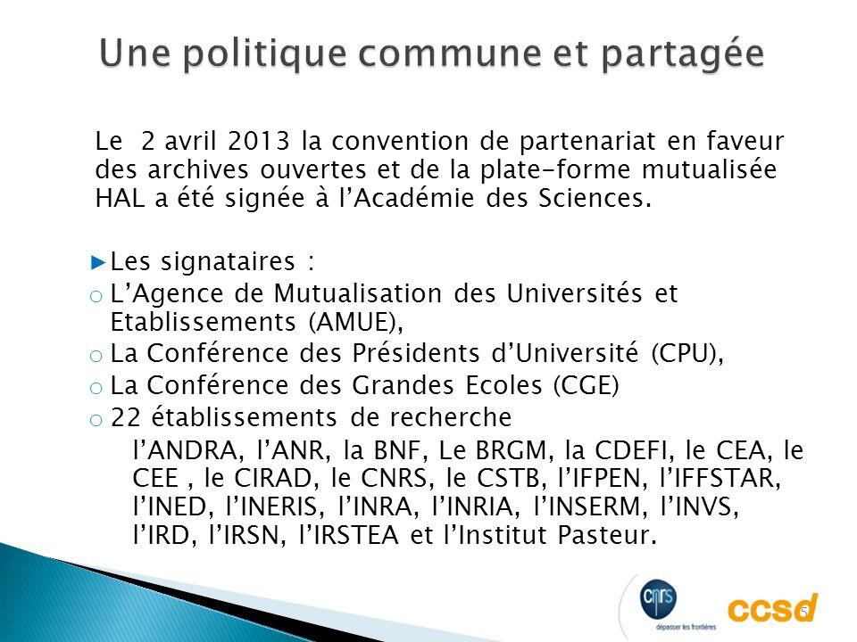 5 Le 2 avril 2013 la convention de partenariat en faveur des archives ouvertes et de la plate-forme mutualisée HAL a été signée à lAcadémie des Sciences.