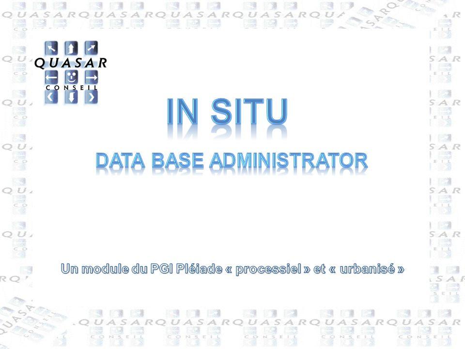 2 In Situ : Data Base Administrator QUASAR Conseil Le Roussillon - 86450 Pleumartin - France 05-49-86-65-41 05-49-86-76-27 produit@quasarconseil.fr www.quasarconseil.fr In Situ, module dédié au DBA, permet : -De créer les objets du systèmes (profils et utilisateurs) -Dintégrer les données structurelles (à partir de NABuCo et de fichiers standards) -De paramétrer le système -De définir les droits des utilisateurs -De paramétrer spécifiquement le site pour chaque module -Deffectuer des ouvertures dexercices (par mise à jour automatique) In Situ est à utiliser par les personnes possédant le statut de super utilisateur