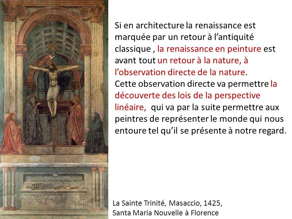 Si en architecture la renaissance est marquée par un retour à lantiquité classique, la renaissance en peinture est avant tout un retour à la nature, à