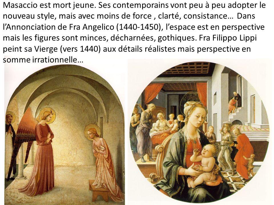 Masaccio est mort jeune. Ses contemporains vont peu à peu adopter le nouveau style, mais avec moins de force, clarté, consistance… Dans lAnnonciation