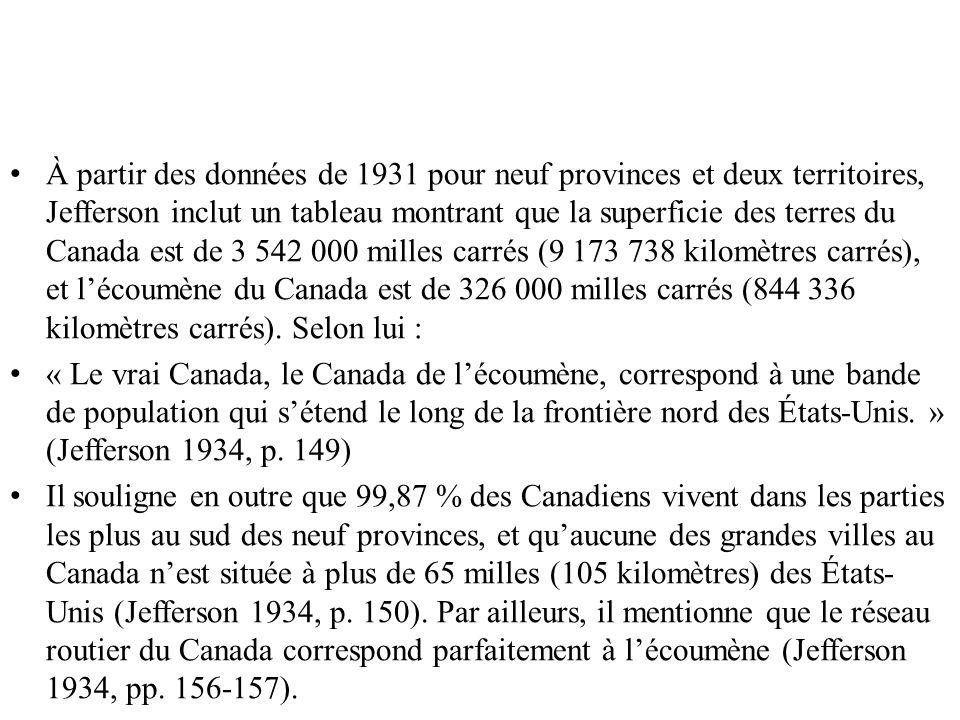 Gajda (1960) Afin de cartographier le territoire occupé et non occupé au Canada, les régions de base utilisées par Gajda (1960) comprennent les municipalités1 et, au besoin, les secteurs de dénombrement2.