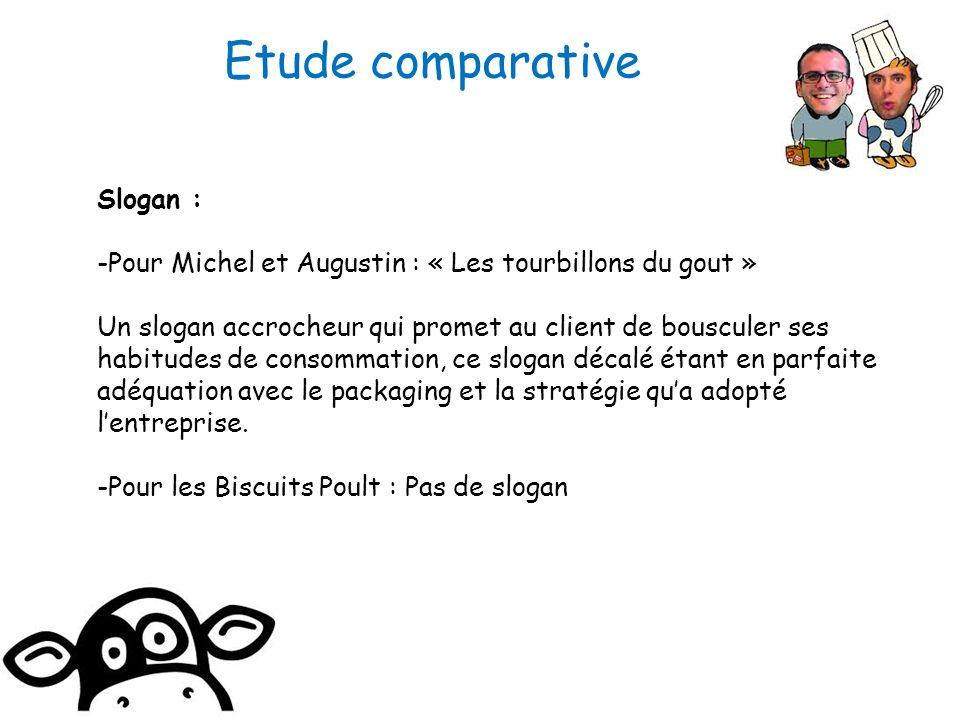 Slogan : -Pour Michel et Augustin : « Les tourbillons du gout » Un slogan accrocheur qui promet au client de bousculer ses habitudes de consommation,