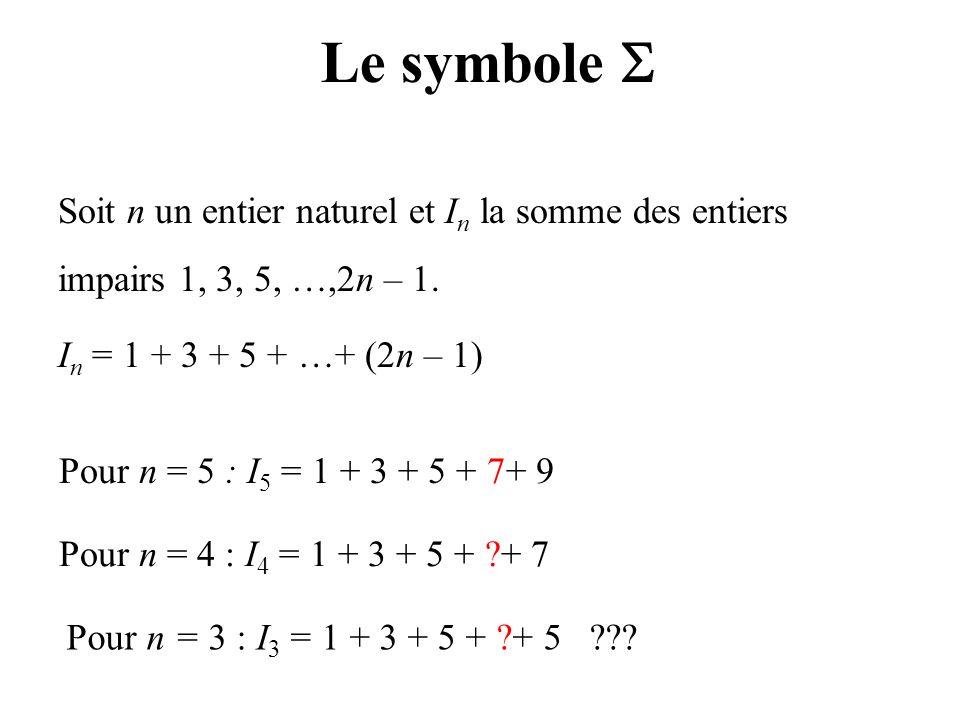 Le symbole Soit n un entier naturel et I n la somme des entiers impairs 1, 3, 5, …,2n – 1. I n = 1 + 3 + 5 + …+ (2n – 1) Pour n = 5 : I 5 = 1 + 3 + 5