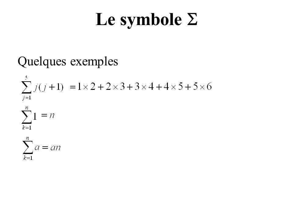 Quelques exemples Le symbole