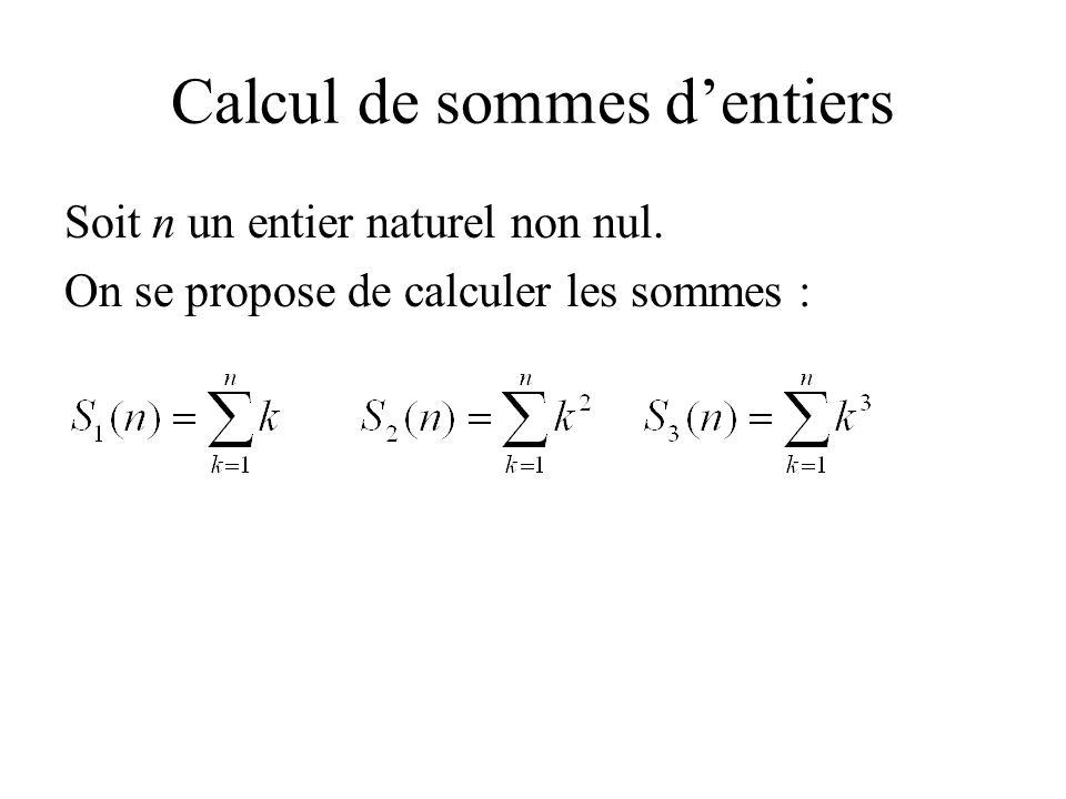 Calcul de sommes dentiers Soit n un entier naturel non nul. On se propose de calculer les sommes :