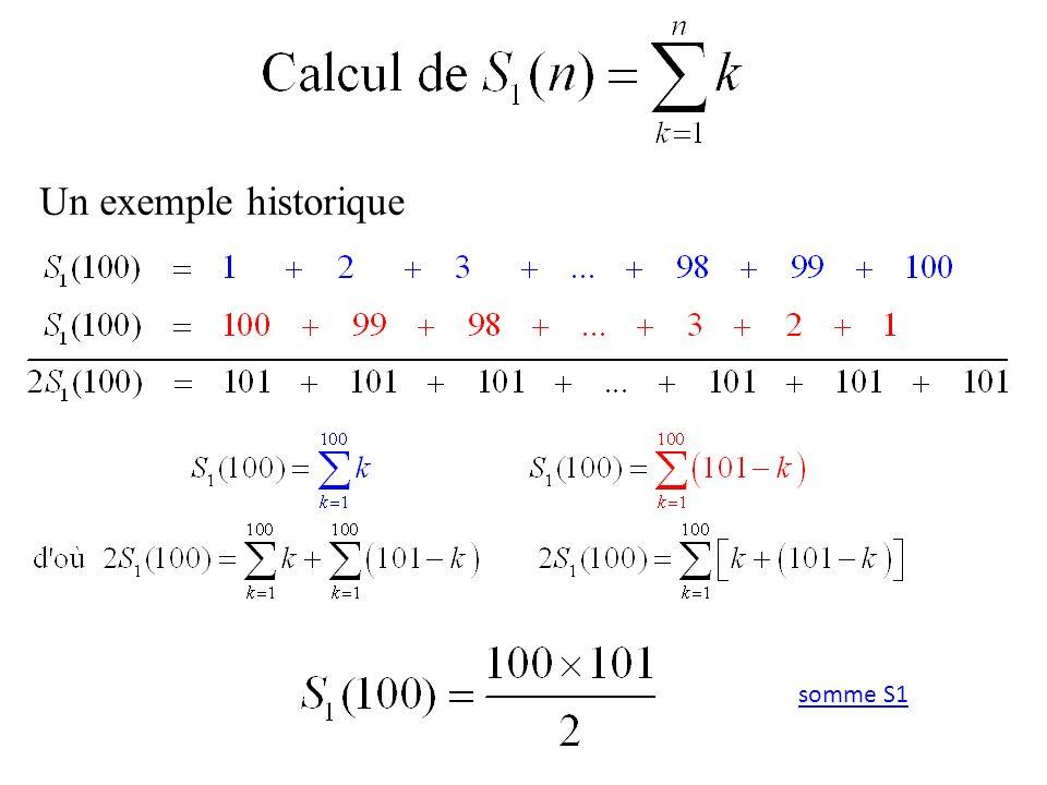 Un exemple historique somme S1