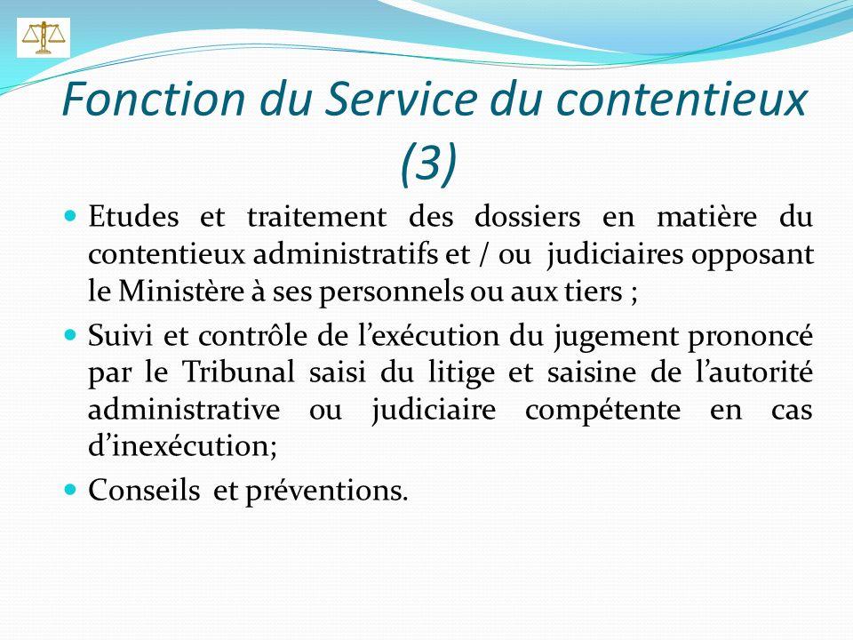 Fonction du Service de la législation (2) Etudes et confections des projets des textes législatifs et réglementaires relatifs à la mise en œuvre de la