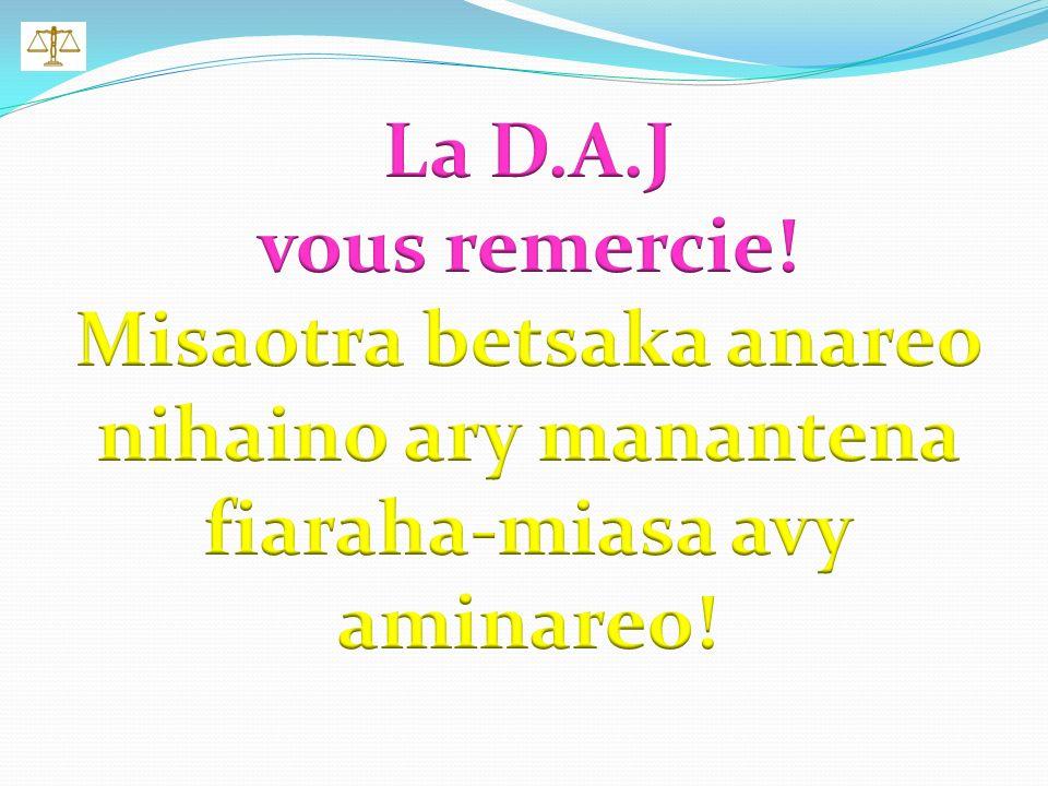 La Direction des Affaires Juridiques est à votre service! NOS CONTACTS: Mme JAORIZIKY Olga 034 05 512 09 Mr. RAMANIRABAHOAKA Gabriel 034 19 561 62 Mr.