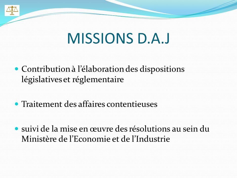 MISSIONS D.A.J Contribution à lélaboration des dispositions législatives et réglementaire Traitement des affaires contentieuses suivi de la mise en œuvre des résolutions au sein du Ministère de lEconomie et de lIndustrie