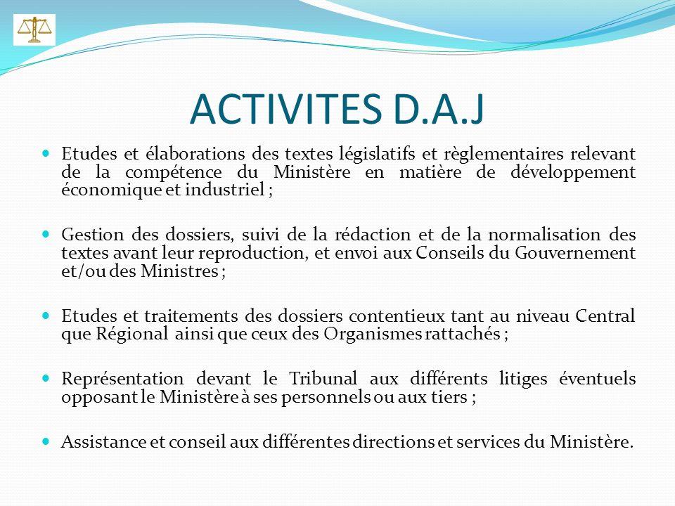 OBJECTIFS D.A.J Assurer lencadrement juridique des activités à caractère économique et industriel en conformité avec les textes en vigueur ; Veiller a