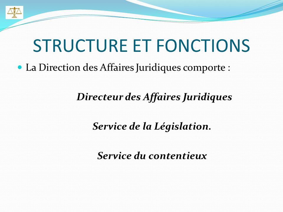STRUCTURE ET FONCTIONS La Direction des Affaires Juridiques comporte : Directeur des Affaires Juridiques Service de la Législation.
