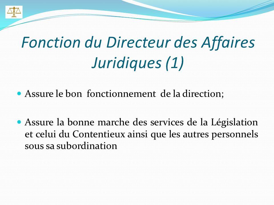 Fonction du Directeur des Affaires Juridiques (1) Assure le bon fonctionnement de la direction; Assure la bonne marche des services de la Législation et celui du Contentieux ainsi que les autres personnels sous sa subordination
