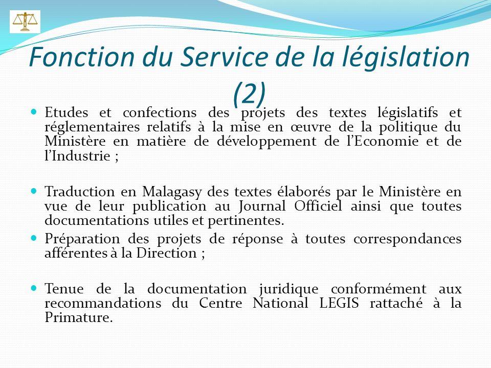 Fonction du Directeur des Affaires Juridiques (1) Assure le bon fonctionnement de la direction; Assure la bonne marche des services de la Législation