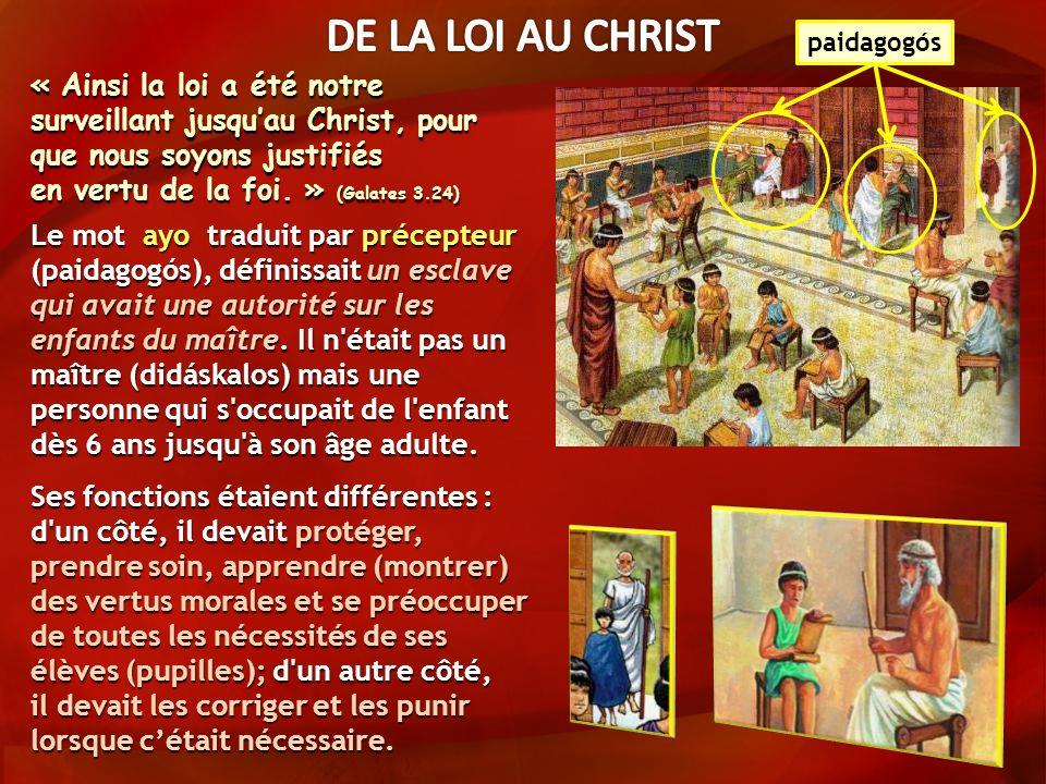 Le mot ayo traduit par précepteur (paidagogós), définissait un esclave qui avait une autorité sur les enfants du maître.