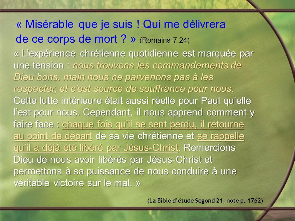 « Lexpérience chrétienne quotidienne est marquée par une tension : nous trouvons les commandements de Dieu bons, main nous ne parvenons pas à les respecter, et cest source de souffrance pour nous.