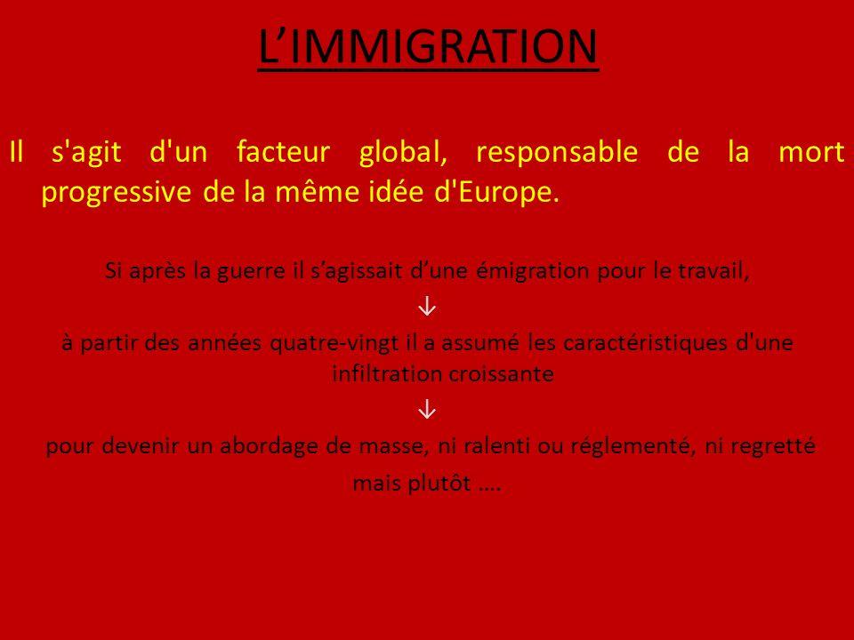 LIMMIGRATION Il s agit d un facteur global, responsable de la mort progressive de la même idée d Europe.