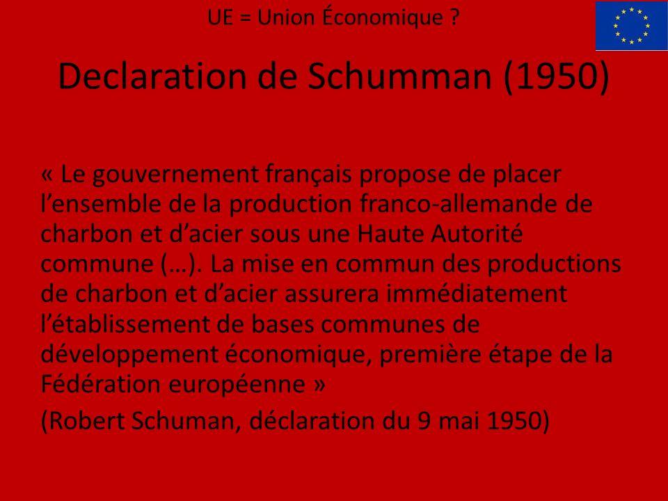 Declaration de Schumman (1950) « Le gouvernement français propose de placer lensemble de la production franco-allemande de charbon et dacier sous une Haute Autorité commune (…).