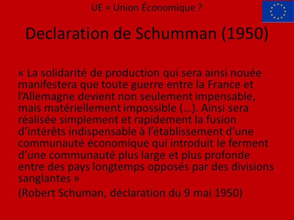 « La solidarité de production qui sera ainsi nouée manifestera que toute guerre entre la France et lAllemagne devient non seulement impensable, mais matériellement impossible (…).