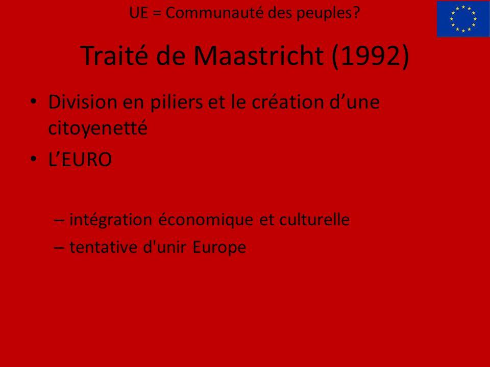 Division en piliers et le création dune citoyenetté LEURO – intégration économique et culturelle – tentative d unir Europe UE = Communauté des peuples.